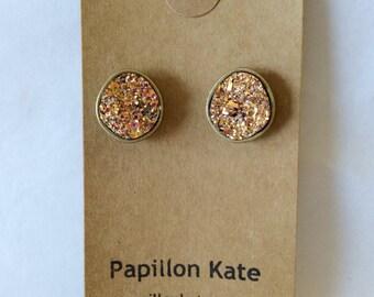 Geode Earrings / Copper / Gold / Pyrite / Druzy