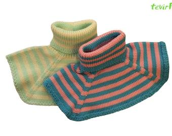 Neck warmer - 1 - 10 years  100% MERINO wool baby children striped chemisette collar scarf scarflete knit hand made neck warmer
