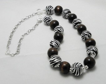 Zebra Chunky Necklace REDUCED