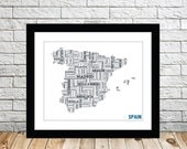 Spain Typography Map 8x10 Print