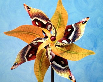 Columbia Silkworm Moth with Yellow Leaves Pinwheel Spinner Whirligig Windmill