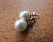 Lustrous South sea shell pearls stud earrings, simple white pearl earrings, pearls on sterling silver ear posts