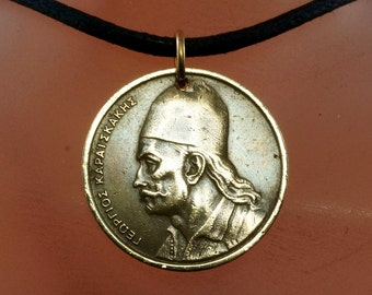 1976 GREECE necklace / GREEK coin jewelry / COIN necklace / mens necklace / vintage pendant charm. No.001900