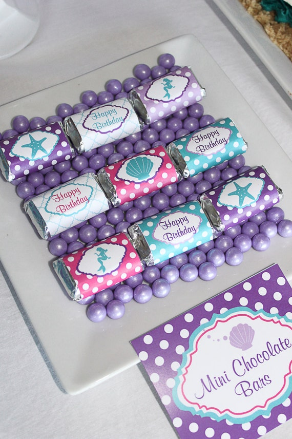 INSTANT DOWNLOAD diy  Ariel Inspired Little mermaid  Birthday Party  PRINTABLE Mini Candy Bar Wrappers purple teal favors treats