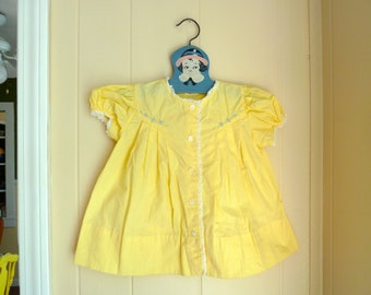 """Vintage Yellow """"Babe Frock"""" Dress with Flowers from 1960s, Nannette Originals, 18 months, Easter dress"""
