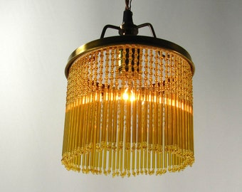 Chandelier Brass Glass Amber Beads Fringe Hanging Quality Custom Handmade NYC