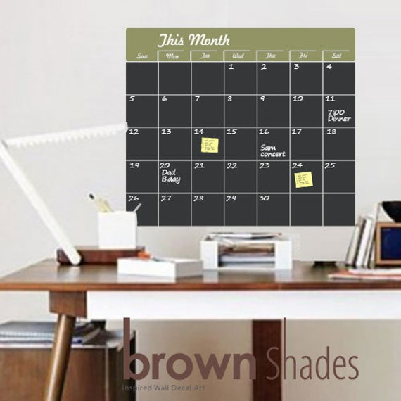 Wall Decor : Chalkboard Wall Calendar Decal