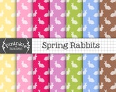 Easter Bunny Digital Paper, Spring Rabbit Digital Paper, Instant Download, Commercial Use, Pink Scrapbook Paper, New Baby Digital Paper Pack
