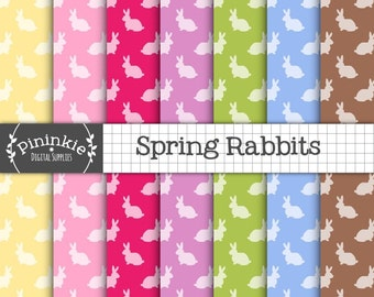 Easter Bunny Digital Paper, Spring Rabbit Digital Paper, Instant Download, Commercial Use, Pink Scrapbook Paper, New Baby Digit
