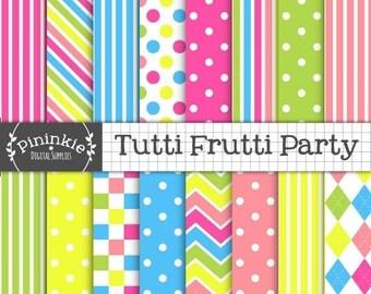 Bright Digital Paper, Tutti Frutti Digital Scrapbook Paper, Candy Stripe Digital Background Paper, Blue Polka Dots,Hot Pink,Instant Download