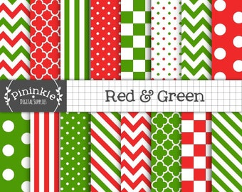 Christmas Scrapbook Paper, Red and Green Digital Paper, Instant Download, Commercial Use, Polka Dots, Stripes, Chevrons