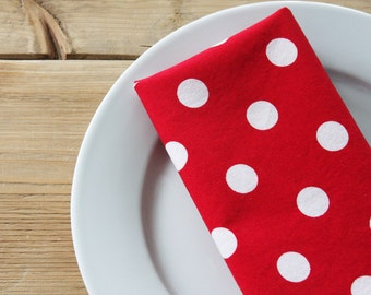 Napkins - Red with White Polka Dots - Set of 4 Reversible Cloth