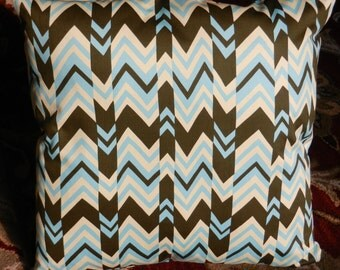 Chevron Zigzag Throw Pillow Cover, Blue, Olive,, Cream Fabric 18 x 18 inch with zipper closure