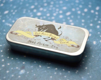 Solid Perfume - Taurus - Astrological Perfume Crème Tin - Vanilla, Rosemary, Mint and Lavender