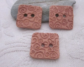 3  Spiral Texture Square Terracotta Buttons