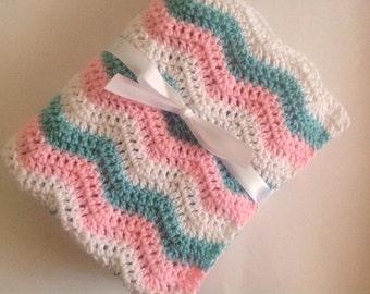 Baby blanket crochet white light pink aqua ripple chevron blanket