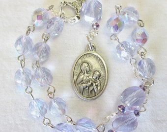 Handmade Little Chaplet of St. Ann, Alexandrite Czech Glass Beads, Crystal Alexandrite Paters
