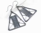 SALE Geometric triangle earrings - silver modern wirework