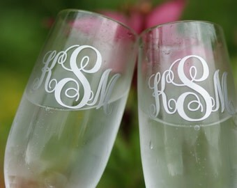 Monogrammed, Wedding champagne flutes.  Toasting glasses for bride and groom.