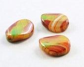 Agate Beads 20mm Oval, Green Orange Focal, Autumn, Three