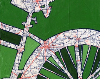 Bike Columbus print - Columbus, Ohio, Newark, Marion -cycle-bike-bicycle- archival print