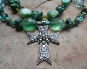 Turquoise and Rhinestone Cross Handmade Necklace