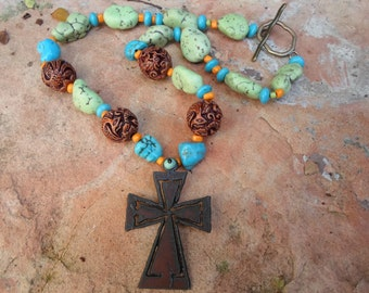Rusty Cross Pendant on a Unique Handmade Necklace