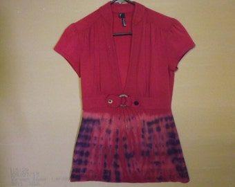 Red with tie dye womans low cut short sleeve blouse