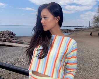 Nyz Stripped CROP TOP Bright Summer Colours Long Sleeved Mix N Match