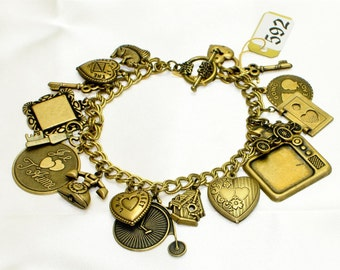 Vintage Victorian Heart Old Fashioned Love Heart  Vintage Charms Antiqued Gold Charm Brass Chain Bracelet
