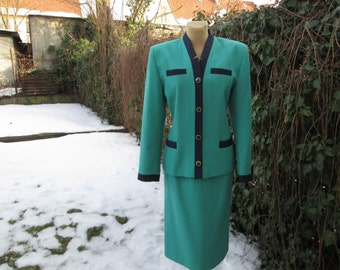 PRETTY SKIRT SUIT Vintage / Skirt and Jacket / Two Piece / Green / Navy