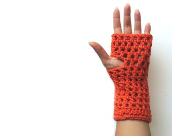 Fingerless gloves, Fingerless mittens, Orange Crochet fingerless glove, arm warmers, christmas gift