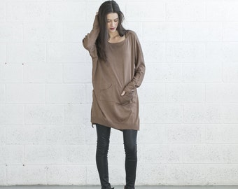 Winter Sale-Pocket Knitted dress - Brown.