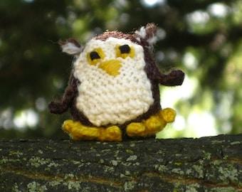 Tiny Knitted Horned Owl