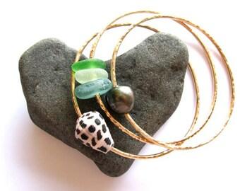 3 Gold Bangles, Genuine Tahitian Pearl, Hawaiian Shell, Sea glass, Hammered Bracelets, Hawaii Beach Jewelry, Christmas Gift, Ocean Lover