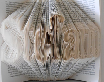 Folded Book Art - Decorative Arts Book Sculpture -  seven letters name - Wedding gift