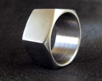 Hex nut ring, stainless steel hardware nut, unisex, geometric, industrial modern chunky ring, size 10.5