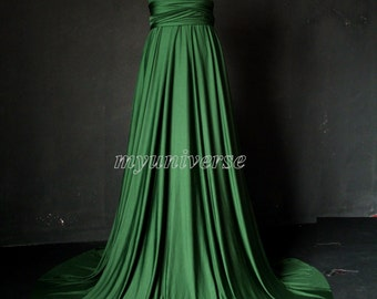 Deep Green Bridesmaid Dress Wedding Dress Infinity Dress Wrap Convertible Dress Formal Dress Emerald Green Plus Size Clothing Maternity Sexy