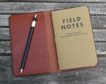 Field Notes Leather Cover - Basic Notebook Journal Wallet - Vegetable Dyed Leather - Hand Stitched - by Garny - bj
