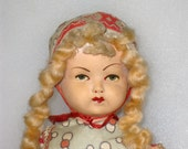 Composition Dutch Girl Folk Doll With Blonde Braids / Cloth Body, Wooden Shoes / 11""