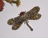 Signed MONET Dragonfly Pave Rhinestone Brooch / Fall Colors / Gift Box & FREE US Shipping