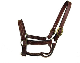 Horse Halter Leather Triple Stitched Equine