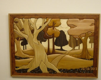 WOODLANDS II, hand carved Intarsia by Rakowoods, gift for a cabin, home rec room, birthday or anniversary gifts. wood carved wall decor