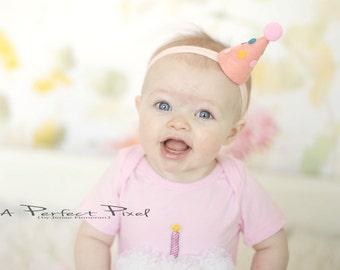 Birthday Hat, baby birthday headband, Girls birthday hat, first Birthday hat, baby birthday, first birthday hat, 1st, polka dot pom pom hat