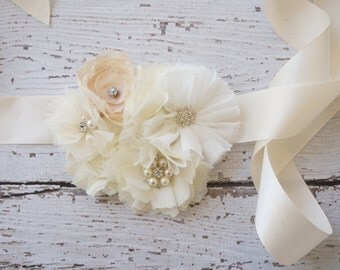 Bridal Sash -flower girls belt - Rustic wedding sash- belt - ivory Wedding Sash Belt - Bridesmaid belt- Bridal belt- flower girl belt