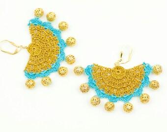 Earrings-Ethnic Style Crochet Beadwork Earrings,Luxury Statement Earrings,Gold Blue,Hittites Sun,Dangle Earrings