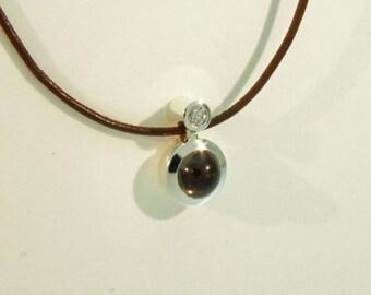 tourmaline diamond silver pendant