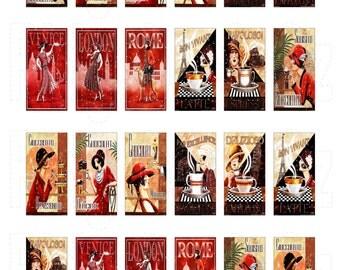 1x2 inch Domino Tiles Vintage Illustrations Wood Thomas Digital Sheet. INSTANT DOWNLOAD. 24 Images. Printable Digital sheet