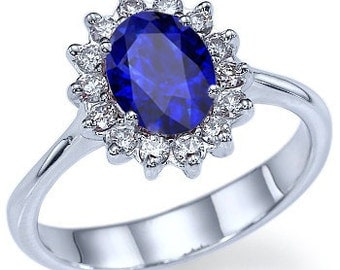 Blue Sapphire Diana Engamenet Ring Settings 14k White Gold Oval Cut