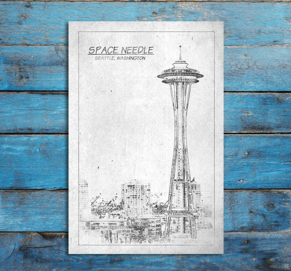 Space needle tower blueprint print on canvas seattle by for Famous building blueprints